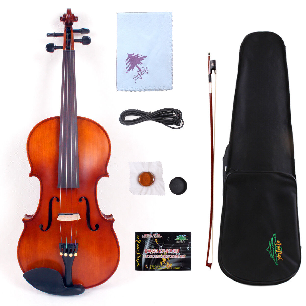 Yinfente Electric purple 16inch spruce+maple Handmade Free Case Bow Cable EL1