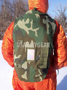Details about US Army Woodland Camo NBC Chem Suit Bag Small Back Pack  Straps Mopp Gear VG USGI