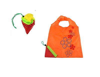 100% Wahr Floral Strawberry Reusable Shopper Tote Eco Fold Pouch Folding Up Shopping Bag