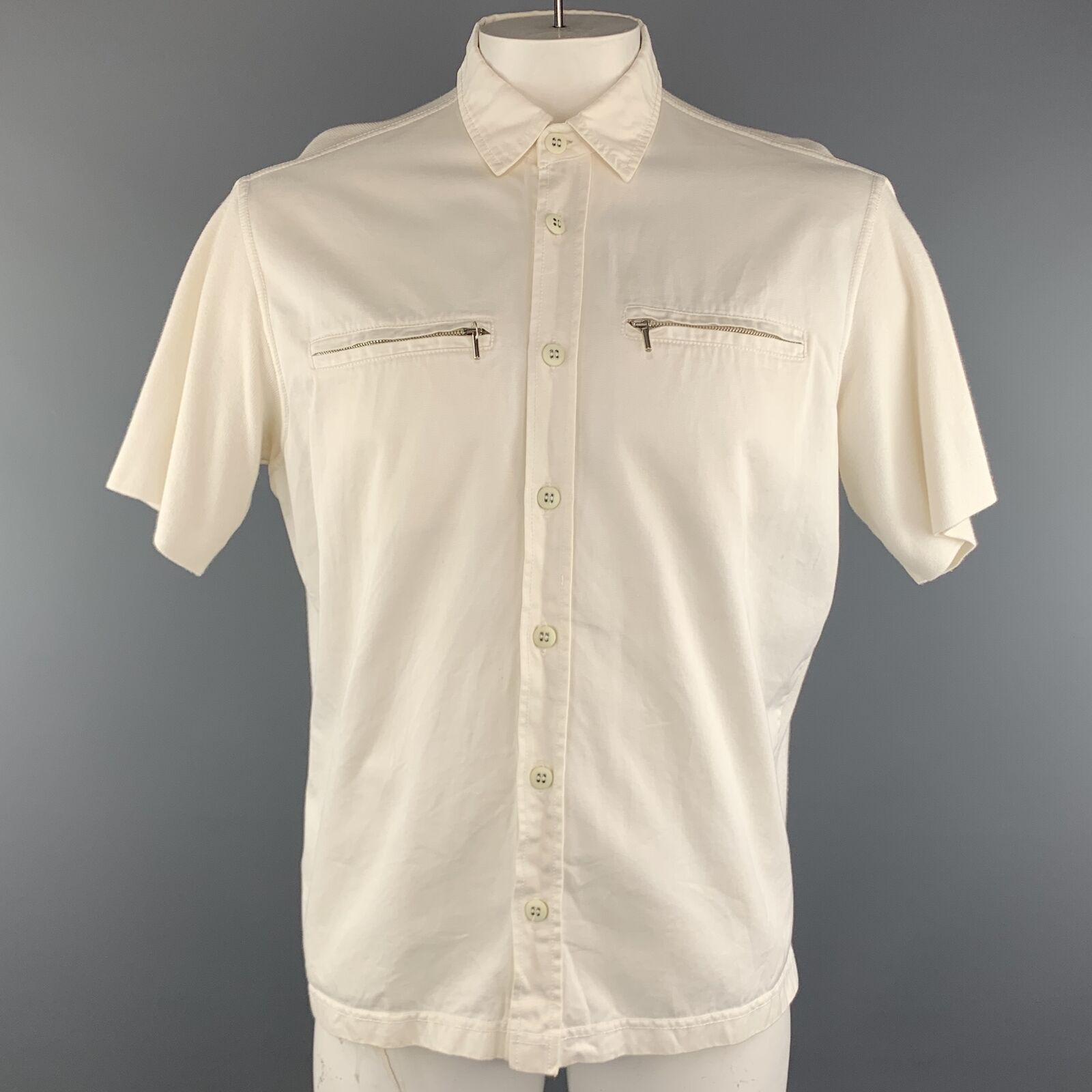 MONTANA Size L Off White Solid Cotton Button Up Short Sleeve Shirt