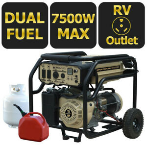 Sportsman 7,500-W Portable Hybrid Dual Fuel Gas Powered Generator with Wheel Kit