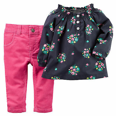 Carters Newborn 3 6 9 12 18 24 Months Floral Top & Pants Set Baby Girl Clothes