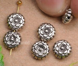 wholesale-20pcs-tibetan-silver-Double-side-flower-beads-spacer-Charms-bead-7mm