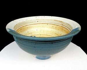 "STUDIO ART POTTERY SIGNED WHEEL THROWN BLUE AND CREAM 10 1/2"" FOOTED BOWL"