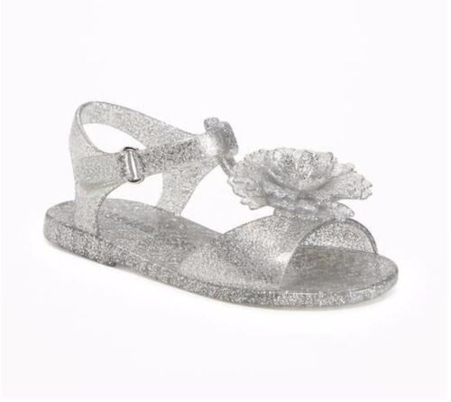 d5fc970d2481 Toddler Girls Old Navy Silver Glitter Flower Jelly Sandals Size 5 for sale  online