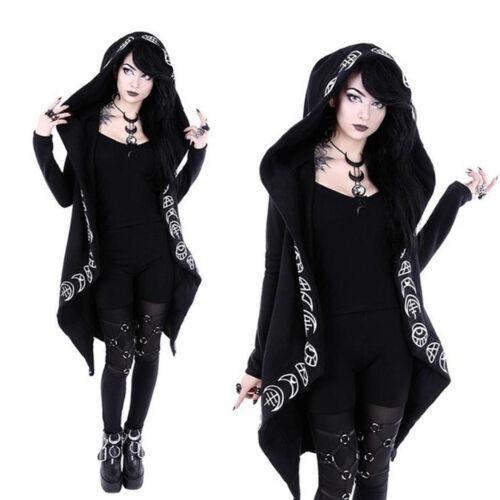 Plus Size Women Black Long Sleeve Hooded Cardigans Hoodie Gothic Punk