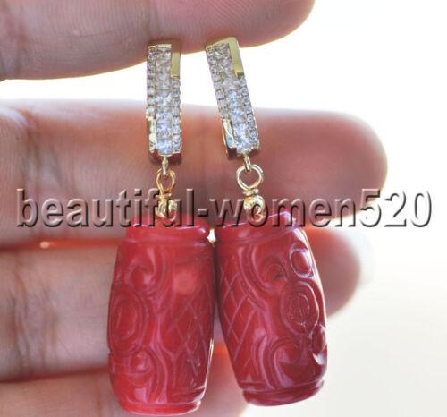 Z9120 Handmade Carve 13 mm Naturel Rouge cylindre Corail Dangle Boucle d/'Oreille Zircon Cubique