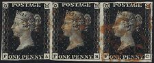 1840 1d Black Pl 5 FA-FC 4m STATE ONE Strip of three Cat. £1800.00