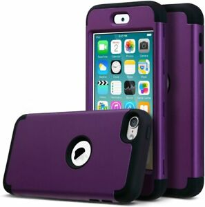 For iPod Touch 5th 6th 7th Gen - Hard Hybrid Armor High Impact Case Purple Black