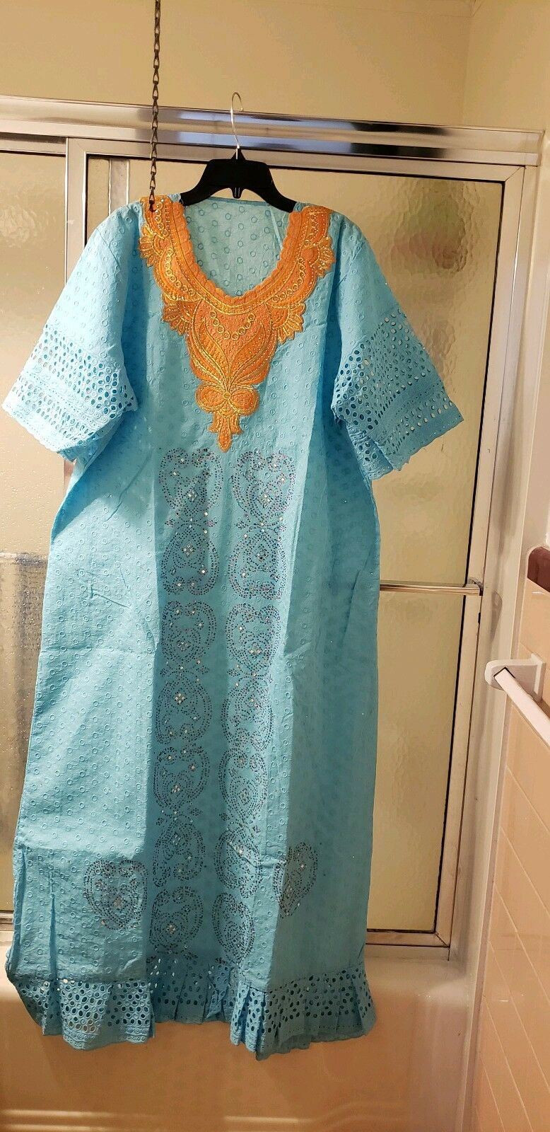 NWOT Multicolord  Embroidered Dress; L XL; Short Sleeved; Maxi;  120