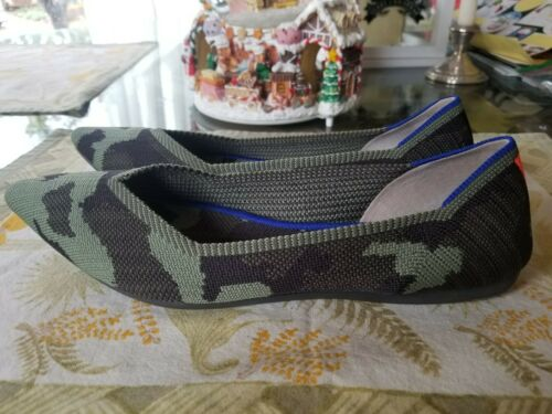 Rothy's 'The Point' Olive Camo Pointed Toe Flats S
