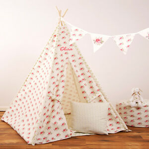 Image is loading Personalised-Children-039-s-Kids-Teepee-UK-Wigwam- & Personalised Childrenu0027s Kids Teepee UK Wigwam Indoor Tipi Play ...