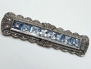 Art-Deco-Brosche-30er-Jahre-835-Silber-punz-8-Blautopas-Carre-s-A485
