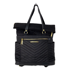 Steve-Madden-Black-Chevron-Quilted-Fold-Over-Backpack-Purse-Convertible-Bag