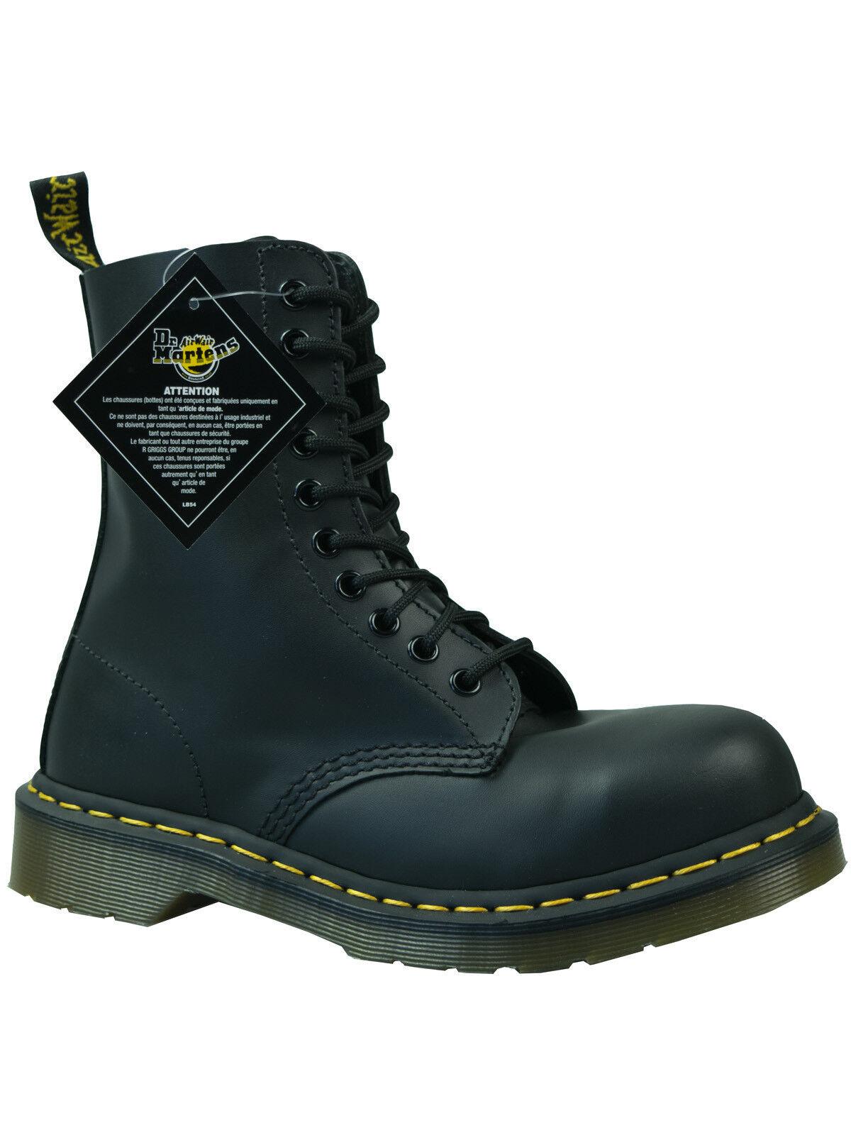Dr. Martens doc 10 agujeros botas/boot/tapa de acero 1919 10105001 negro