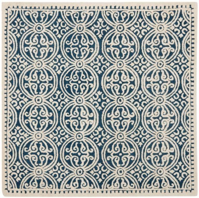 Safavieh Cambridge Navy Blue Ivory Wool Area Rug 8 Square Cam123g 8sq For Sale Online