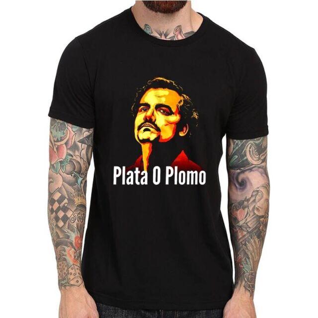 Plata O Plomo Pablo Escobar Narcos  Mafia Series Black Basic Men/'s T-Shirt