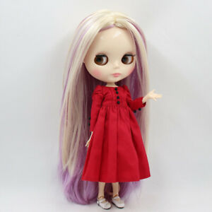 12-034-Takara-Blythe-factory-Nude-Doll-Jointed-Body-Pink-Mix-Yellow-Straight-hair