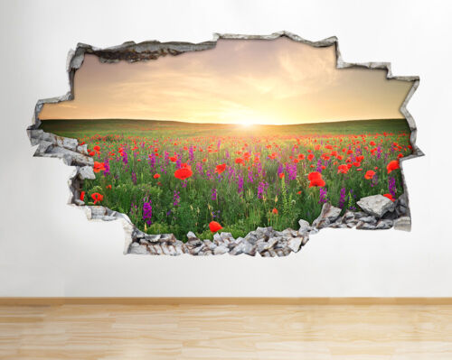 Wall Stickers Flowers Sunrise Scenic Vinyl Smashed Livingroom Mural Decal 3D Art