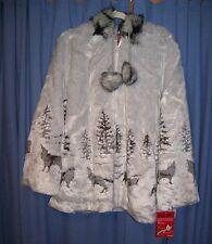 Gray Wolf Faux Fur Hooded Fleece Jacket Coat New XL Black Mountain Free Shipping