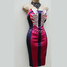 Karen Millen Purple Colour Block Origami Twisted Cocktail Races Pencil Dress 10