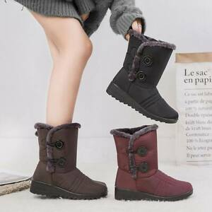 Womens-Winter-Warm-Fur-lined-Mid-Calf-Snow-Boots-Slip-On-Waterproof-Warm-Shoes