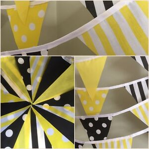 New-York-Yellow-amp-Black-Design-Handmade-Fabric-bunting-3-lengths-Party-Decor