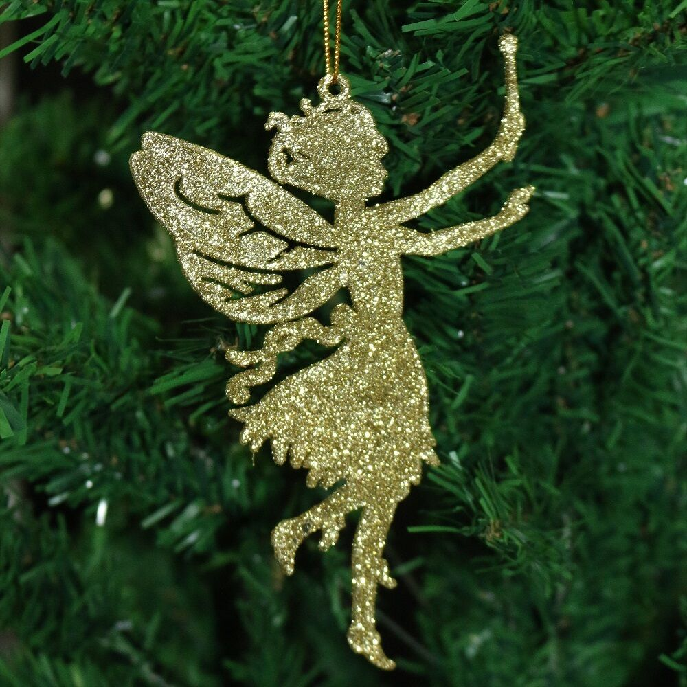 Pack Of 6 Glitter Fairy Christmas Tree Hanging Pendant