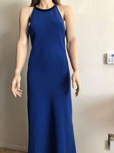 Womens Nwt Calvin Klein Blue Embellished Halter Neck Crepe Dress