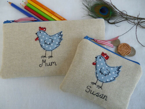 Personalised Hen Chicken Purse or Pencil Case Linen /& Blue Spot Choice of words