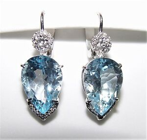 Stunning 2049ct blue topaz 070ct diamond chandelier earrings 35mm image is loading stunning 20 49ct blue topaz 0 70ct diamond mozeypictures Gallery