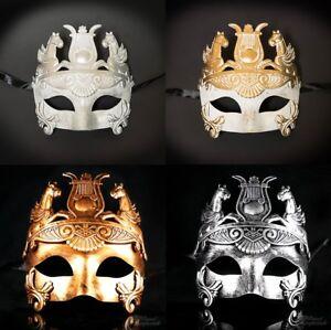 Mens Greek Roman Warrior Gladiator Theater Venetian Masquerade Mask Gold