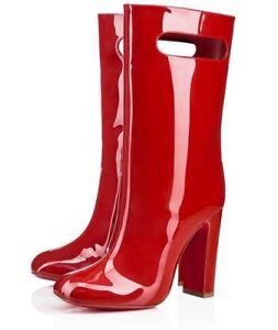 f1c5d8a8e10 NIB Christian Louboutin Bag Bootie 100 Tomette Red Patent Block Heel ...