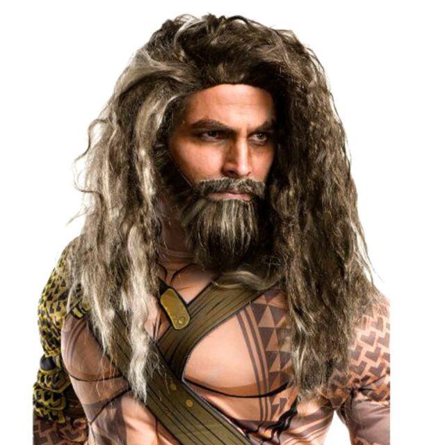 Aquaman Wig Beard Moustache Set Costume DC Comic Caveman Justice League Adult
