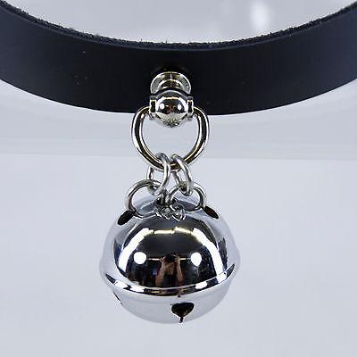 PAWSTAR Real Leather BELL collar - Kitten cat choker costume pet BLACK [BK]5049