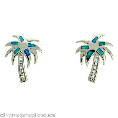 Blue Fire Opal Inlay Solid 925 Sterling Silver Palm Tree Post Earrings