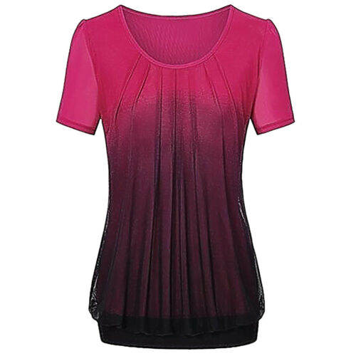 Women Casual Gradient Blouse Summer Beach Printed Pleated Ruched T Shirt Tops AU