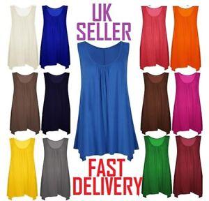 2cef0afb03b Womens Top Summer Gathered Ladies Plus Size 18 20 22 24 26 Vest Hem ...