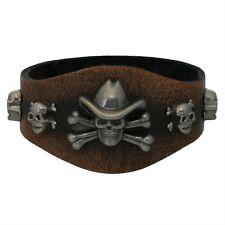 Cowboy Skull Studded Brown Leather Cuff Bracelet