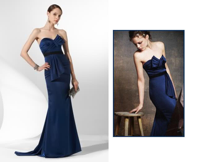 BCBG MAX AZRIA Midnight Blau dress gown strapless evening Satin Anthropologie