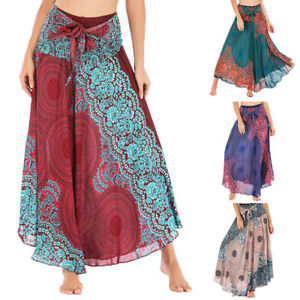 Women-Hippie-Bohemian-Gypsy-Boho-Flowers-Elastic-Waist-Floral-Halter-Long-Skirt