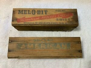 2-Antique-Wooden-Melobit-Mel-o-bit-Cheese-Boxes-American-and-Swiss-Barn-Find