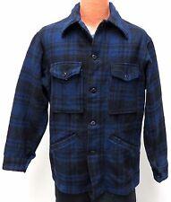 vtg Pendleton BLUE BLACK PLAID Wool Jacket M MED 70s hunting work snap pockets