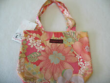 CUTE Bungalow 360 Coral Floral Print Small Reversible Tote Bag NEW! 10.5 x 8.5