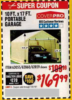Harbor Freight Coup.on for 10' X 17' Portable Garage | eBay