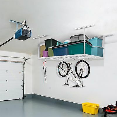 Fleximounts 4x6 Overhead Garage Storage Ceiling Rack Hooks Not Included White Luxuriant In Design Home Organization Home & Garden