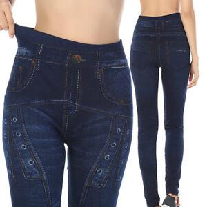 Women-Pencil-Pants-High-Waist-Printed-Leggings-Stretchy-Slim-Jeans-Trousers
