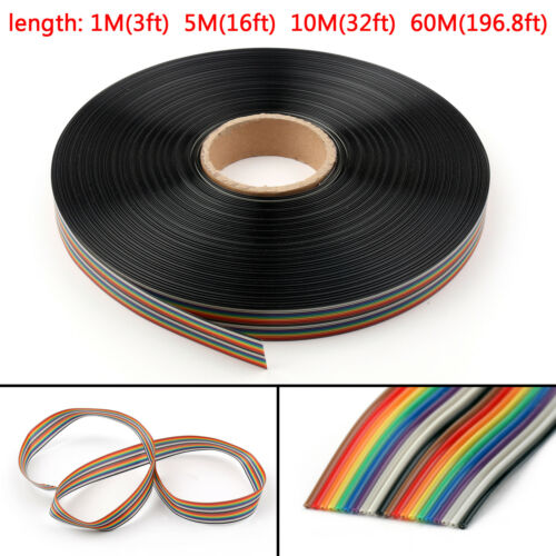 10 12 14 16 20 26 30 34 40Pin Color Rainbow Ribbon Wire Cable Flat 1.27mm  US