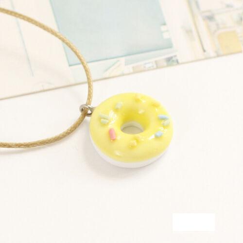 Cute Doughnut Ceramic Pendant Necklace Ceramic Sweet Gifts for women Girl