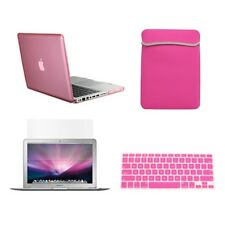 """4 in1 Crystal PINK Case for Macbook PRO 13""""+Keyboard Cover+LCD Screen+Sleeve Bag"""
